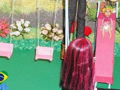 Como fazer parquinho (escorregador) para boneca Monster High, Barbie, EAH, etc