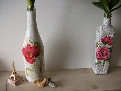 Decoupagem simples e fácil em garrafas♥