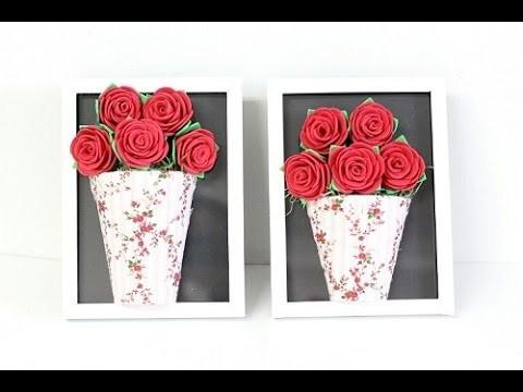 DIY - Quadro feito com rosas de eva