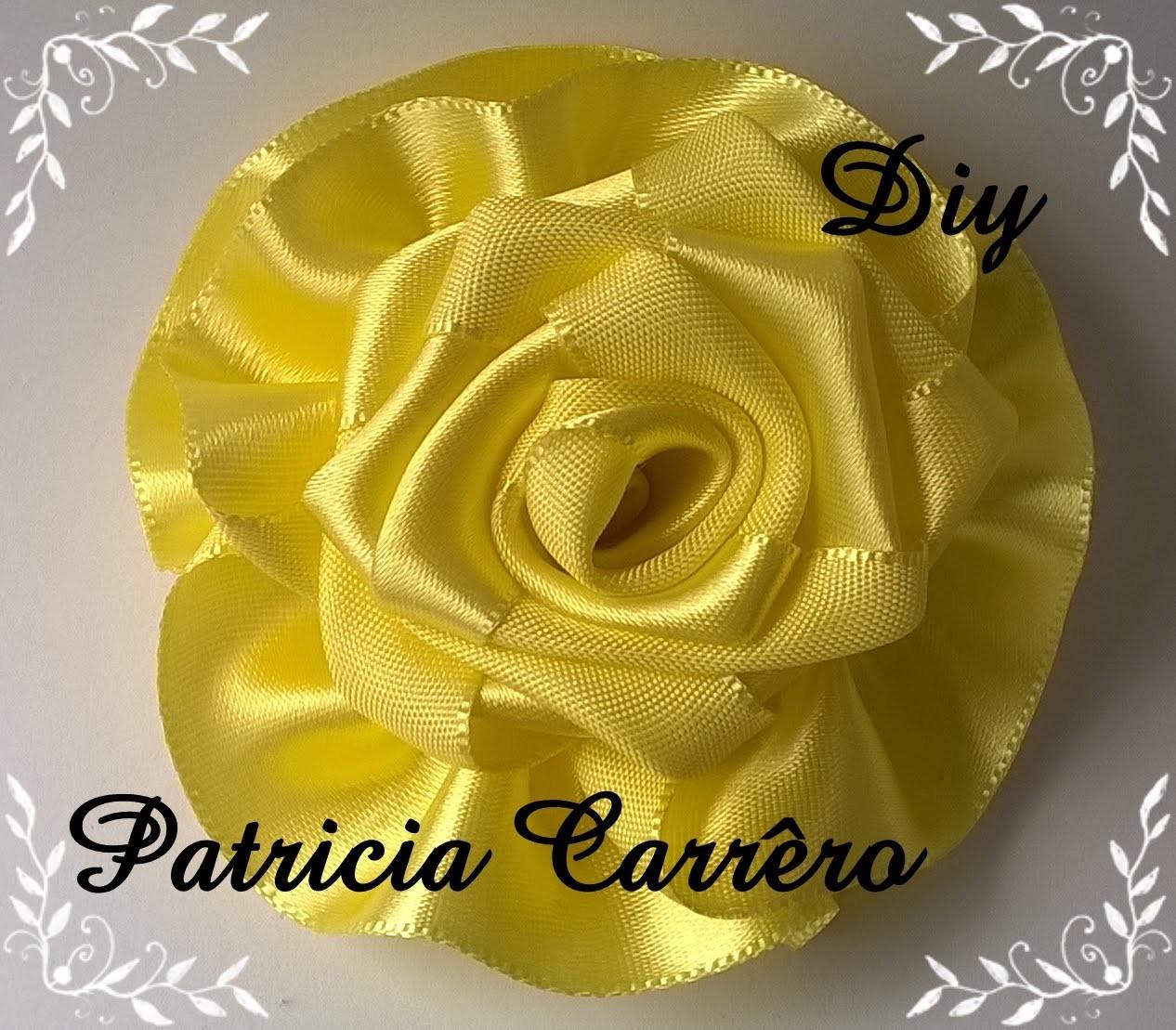 Flor de fita amarela DIY \ Yellow Ribbon Flower