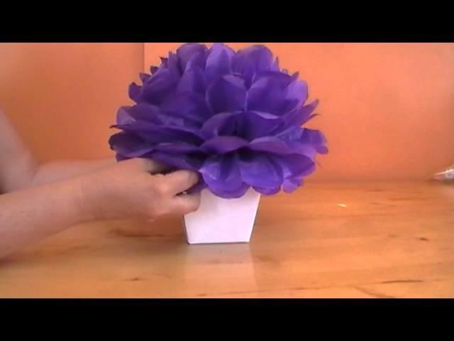 Flor de Papel de Seda - montagem em vaso
