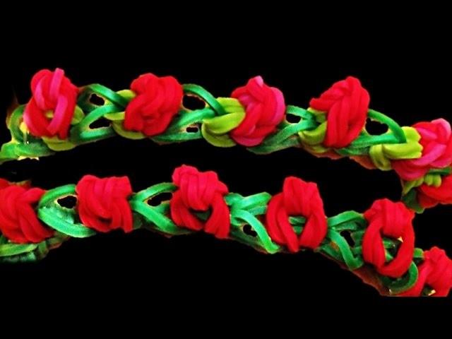 Pulseiras de Elastico Rosa * Como fazer Pulseiras com Elasticos * Loom Bands