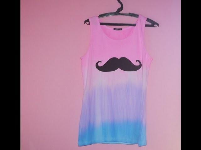 T-shirt Dip dye com estampa Moustache