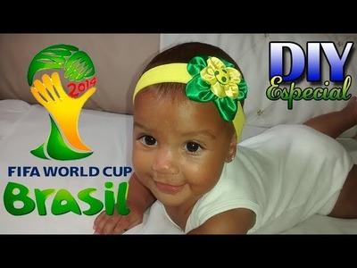 Tiara de meia de seda torcida brasileira | DIY-Passo a Passo | Especial Copa do Mundo 2014