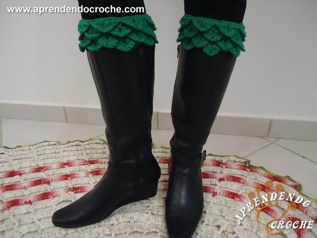 Boot Cuffs de Crochê - Aprendendo Crochê