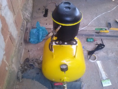 Compressor caseiro com bujão de gás e motor de Geladeira!