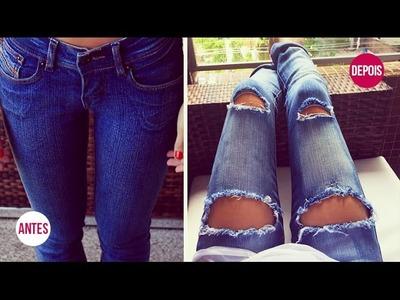 DIY: Customização de calça FÁCIL | Como fazer Destroyed jeans