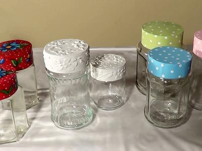 DIY - Tampa para potes de vidro -  Cover for glass jars - Tapa para frascos de vidrio