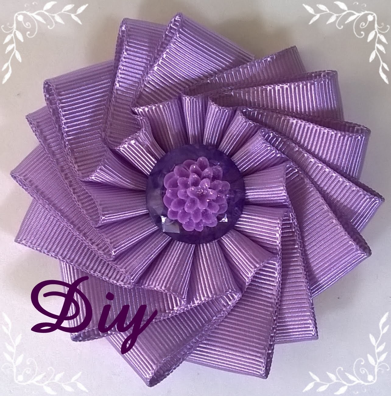 Flor de fita de gorgurão DIY \ Ribbon flower