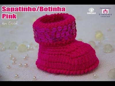 Sapatinho Crochê Botinha Pink - Professora Simone