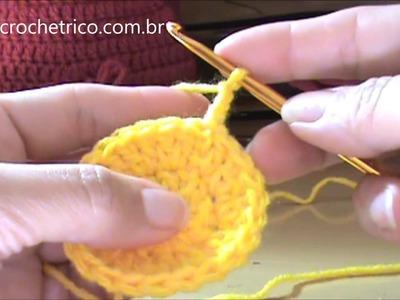 Crochê - Touca Laçarote (3 à 5 Meses) - Parte 01.02