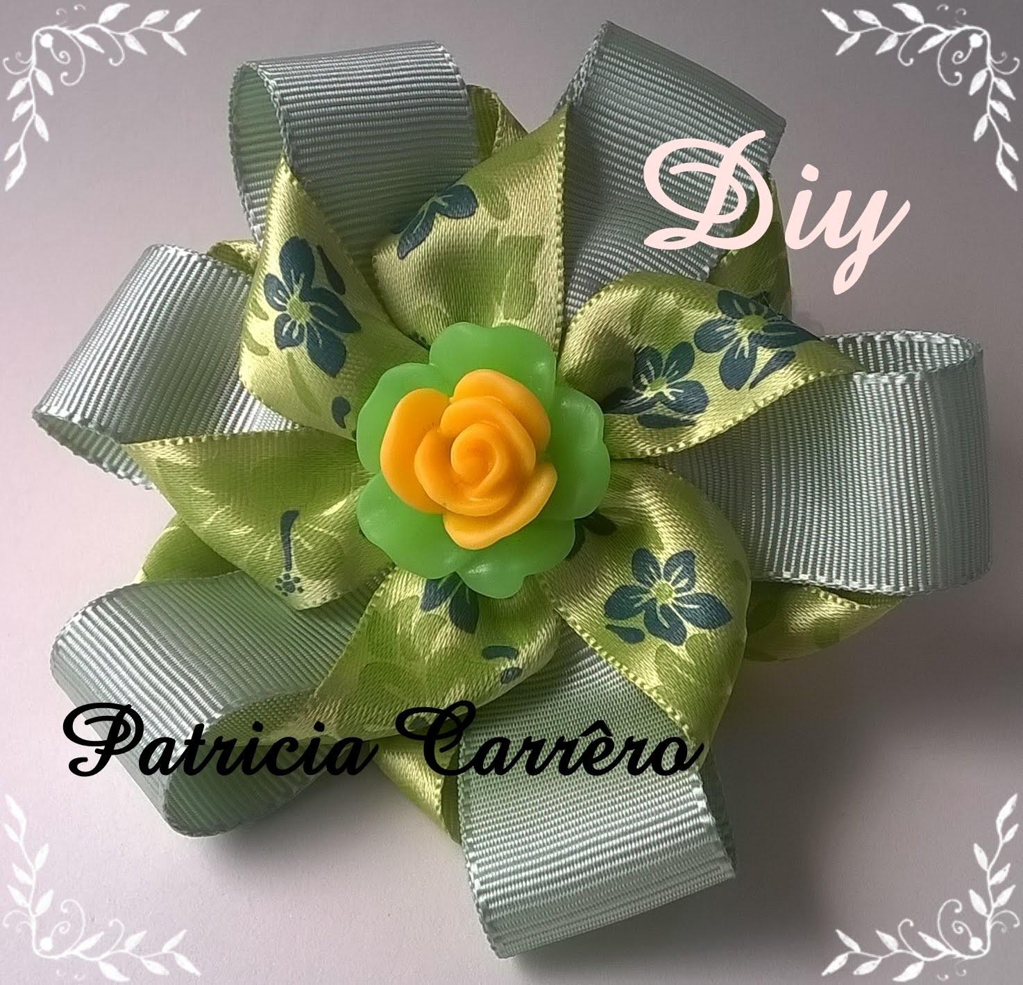 Flor fita de gorgurão e fita de cetim DIY \ Flower ribbon grosgrain and satin ribbon \