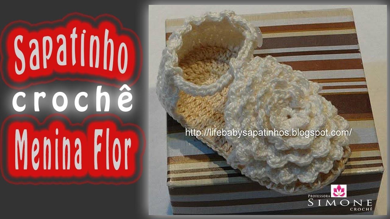 Passo a passo Sapatinho de Crochê Menina Flor
