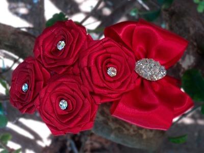 Tiara com rosas de fita | DIY - PAP