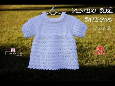 Vestido Crochê Bebê - Tamanho 6 a 9 meses- Professora Simone
