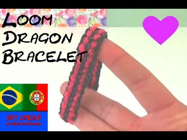 Pulseira de elastico escema DRAGÃO com garfo em português Rainbow Loom Dragon Bracelet em portugues