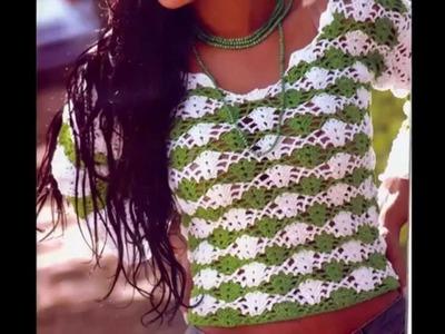 Blusa Verde y Blanco Puntada Calada a crochet