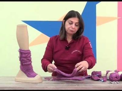 Botinha Liza em tricô com Cisne Cetim.