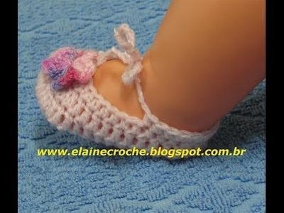 CROCHE - SAPATINHO BONECA BABY - PANTUFA