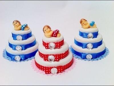 Lembrancinhas de tampas de garrafa - mini bolo