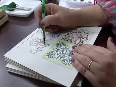 Mulher.com 25.09.2014 - Pintura Azulejo Hidráulico por Mara Fernandes