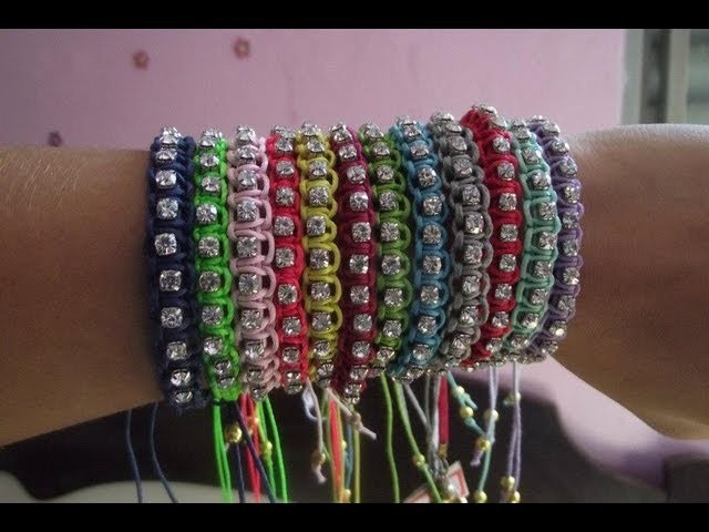 Passo a Passo: Pulseira Macramê com Strass Está na MODA!-Step by step: DIY Macrame bracelet!