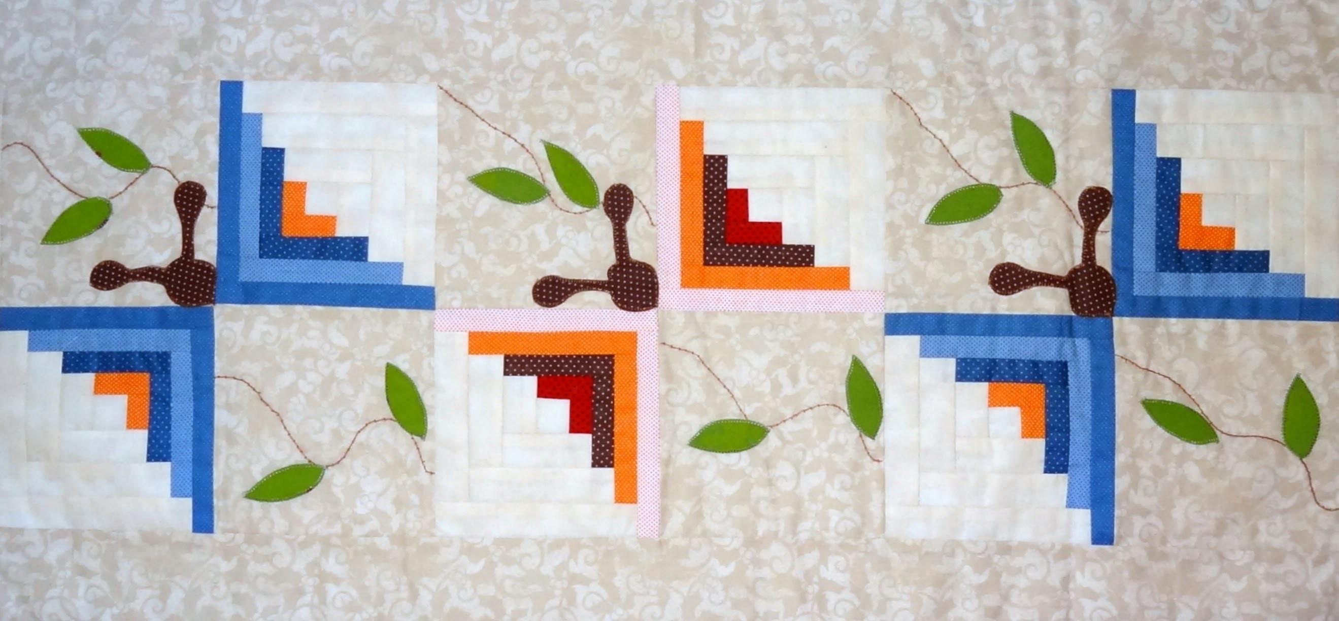 Patchwork Maria Adna - Caminho de mesa - Patchwork - Trilho de mesa em patchwork