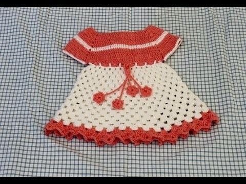 Vestidinho em croche infantil para bebê Parte 1 - Crochet dress - Ganchillo Vestido ninã
