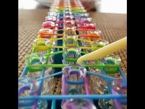 Como fazer Pulseira de elastico Rainbow Loom passo a passo