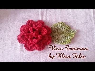 Flor Rosa vermelha em crochê para aplique # 84 Vício Feminino by