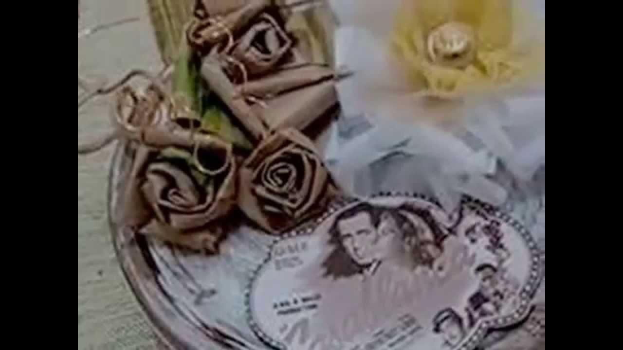 Caixa multiuso vintage feita com flor de papel craft ,flor de tecido e sobras de rendas e tule