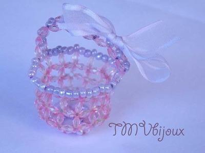 Como fazer lembrancinha maternidade - Cestinho com cristais e miçangas