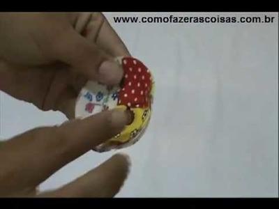 Como fazer um fuxico trançado ou sobreposto de tecido com 4 cores - parte 3