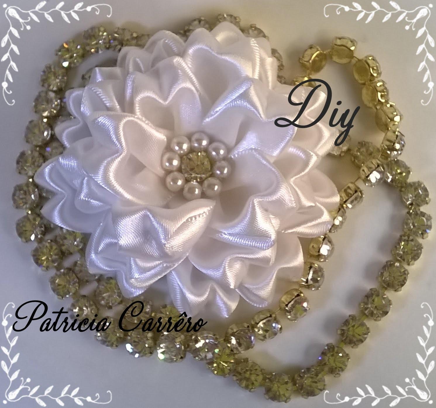 Flor de fita com strass e pérola DIY \ Ribbon flower with rhinestones and pearls DIY