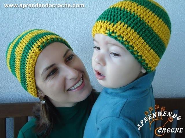 Gorro Crochê Brasil Tal mãe, tal filho - Adulto - Aprendendo Crochê
