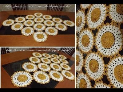 Motivo para caminho de mesa em crochê c. pérolas Parte 1.2
