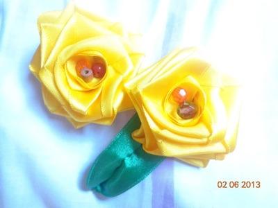 Rosa Amarela de Cetim - Passo a Passo