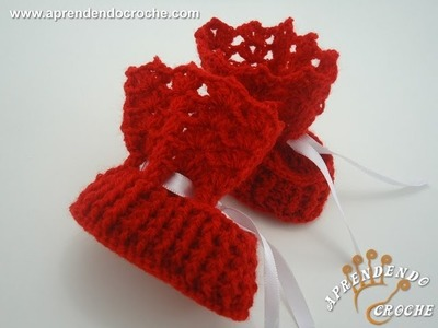 Sapatinho de Bebê em Croche Botinha - Aprendendo Crochê