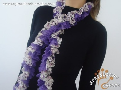 Cachecol de Croche Flores e Rendas - Aprendendo Crochê