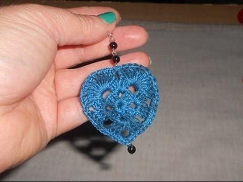 Brinco em Crochê coração coraçãozinho  crochet heart Gancillo corazon
