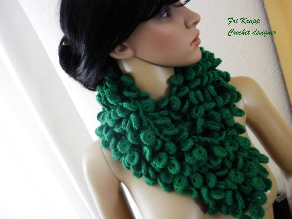 "Cachecol em croche ""Waldtropfen""-Häckelschal, crochet scarf, by Fri Krupp"