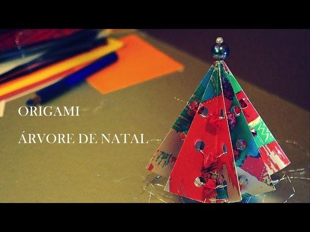 Como fazer uma Árvore de Natal de Origami  - Dobradura de Papel - Christmas Tree