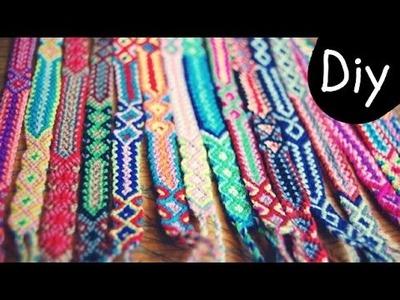 DIY #4: Como fazer Friendship Bracelets.Pulseiras da Amizade.Pulseiras Hippie - Diagonal e Chevron