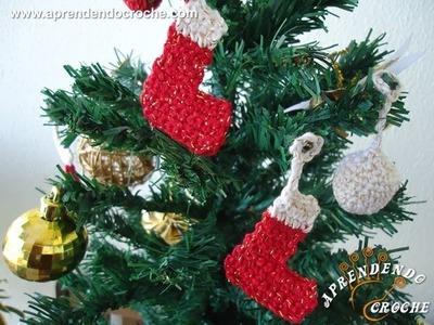 Enfeite de Natal - Mini Botinhas de Croche - Aprendendo Crochê