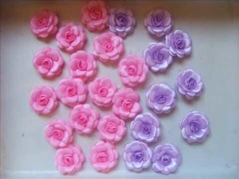 Flores fita tecido e pedraria