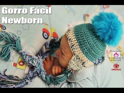 Gorro Facil Newborn Infantil em crochê - Professora Simone