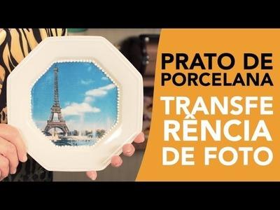 Prato de Porcelana com Transferência