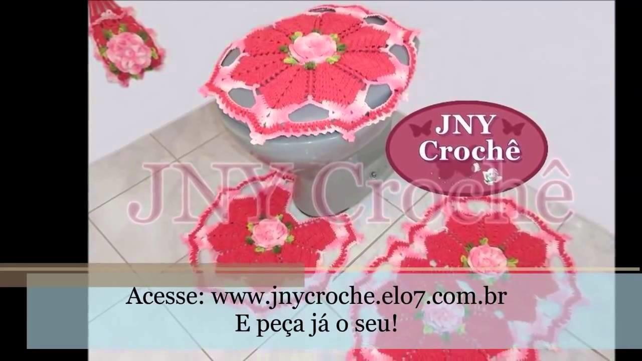 Jogo de Banheiro Flor de Cerejeira versão Rosa JNY Crochê