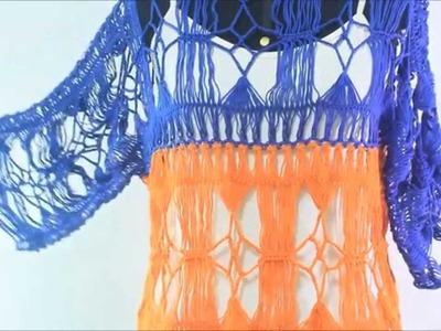 Blusa 3 cores em crochê de grampo duplo