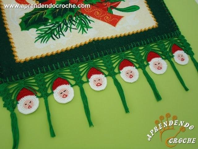 Barrado de Croche Papai Noel - Aprendendo Crochê